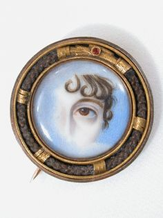Exceptional Lover's Eye Miniature Portrait Brooch jewelry - blue sky indicates that it  is a memorial piece