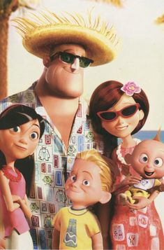 The Incredibles on vacation. Check out Bob's shirt!