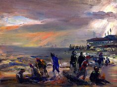 Storm over the Beach - William James Glackens , American, oil on panel , x in. x cm. American Realism, American Art, Lawrence Lee, Ashcan School, Williams James, Spanish Painters, Beach Art, Painting & Drawing, Illustration Art