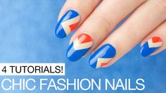 Fashion Nails! 4 Nail Designs Step by Step - YouTube