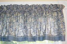 "Garden Sketch Book RJR Blue Perriwinkle Toile Valance 17"" X 64"" Curtain Can Alter"
