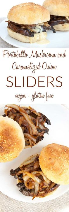 Portobello Mushroom and Caramelized Onion Sliders collage photo with text