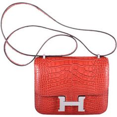 EXTRAORDINARY HERMES CONSTANCE BAG ALLIGATOR 18cm ROUGE H WITH PALL HARDWARE