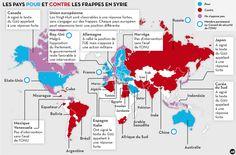 La carte des pays pour ou contre des frappes en Syrie 2013/09/09