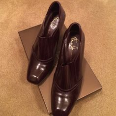 Chocolate booties Excellent condition Franco Sarto chocolate booties worn only a couple times the artisan collection great with skirts and pants looks cute with tights Franco Sarto Shoes