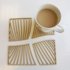 'Grain' Lasercut Birch Plywood Coasters by AideenL - €19.50 at www.faballthings.com/products/grain