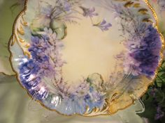 """""""Hand painted FLORALS & JEWELS """" ~ Ten Absolutely Breathtaking and Beautifully Executed Antique hand painted Limoges Floral Fine Art Dessert Plates Afternoon Floral Art Tea Plates, Incredible Museum Quality, Circa 1890"""
