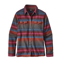 //thick, warm, organic cotton//  Blanket Stripe, Roots Red   Size 6 or 8   Patagonia Long-Sleeved Fjord Flannel Shirt