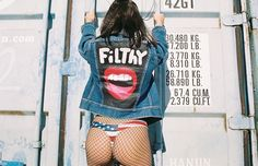 """Filthy Mouth Creative on Instagram: """"I like to hold it and squeeze it like you do... New custom painted """"Filthy"""" Jackets available now.. Click the link in bio.. #FilthyPhotography #FilthyMouthCreative #Film #35mm #Superbabe @alysiabrunst America bottoms by @dontblowit  + Styling @filthymouthcreative"""""""