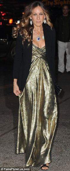 Sara Jessica Parker in Gold dress with Black blazer