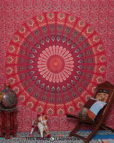 Red Mandala Hippie Hippy Wall Hanging Indian Tapestry Throw Bedspread Decor Art