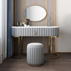 Makeup Vanity Set with Drawer Mirror & Leather Stool Included Faux Marble Tabletop - Makeup Vanities - Bedroom Furniture - Furniture Bedroom Furniture, Home Furniture, Furniture Design, Bedroom Decor, Girls Bedroom, Office Furniture, Makeup Vanity Set, Makeup Vanities, Modern Makeup Vanity