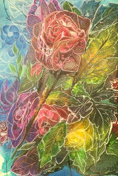 Roses Intuitive painting Acrylic and ink