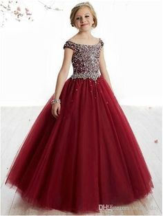 2019 New Flower Girl Dresses Ball Gown Full Crystal Pageant Birthday Party Dress