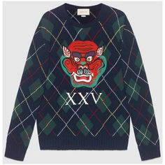 Gucci Argyle Wool Sweater With Appliqués ($1,380) ❤ liked on Polyvore featuring men's fashion, men's clothing, men's sweaters, mens blue sweater, men's wool crew neck sweaters, gucci mens sweater, mens woolen sweaters and mens wool sweaters