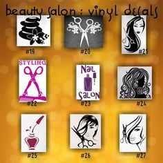 BEAUTY SALON Vinyl Decals Pages By CreativeStudio Salon - Hair stylist custom vinyl decals for car