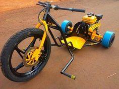 Drift Trike Motorizado Bike Drift, Drift Trike Frame, Cool Bicycles, Cool Bikes, Go Kart Chassis, Drift Kart, Drift Trike Motorized, Homemade Motorcycle, Custom Trikes