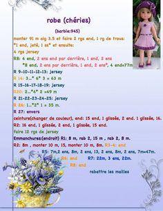 tutos chéries - Les trésors de Cloé et cie Crochet Doll Clothes, Knitted Dolls, Doll Clothes Patterns, Doll Patterns, Clothing Patterns, Nancy Doll, French Pattern, Disney Animator Doll, Knit Fashion