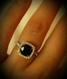 Black saphire cushion cut diamond halo engagement ring! Im the luckiest girl ever!