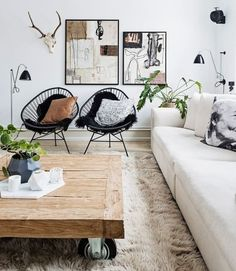 Scandinavian living room decor featuring faux fur