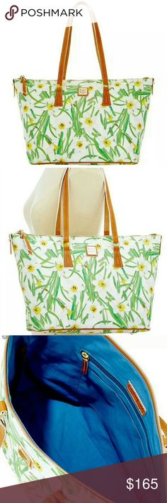 """Authentic Dooney & Bourke Daffodil zip top tote DOONEY & BOURKE DAFFODIL ZIP TOP SHOPPER TOTE   LINED WITH POCKETS & KEY CLIP  ZIP TOP CLOSURE   STRAP 9.5"""" DROP    LEATHER TRIM   PROTECTIVE FEET  DIMENSIONS APPROX: 14""""L X 10.5""""H X 6""""D TOP   EASY CARE LIGHT WEIGHT COATED COTTON   SMOKE FREE HOME   RARE AND SOLD OUT  PRICE FIRM  ONLY TRADING FOR MICHAEL KORS LARGE LEATHER JET SET TOTE IN COLORS OTHER THAN BLACK AND BROWN OR FOR MAPLE STYLE DOONEY TOTE/OTHER MAPLE DOONEY BAGS Dooney & Bourke…"""