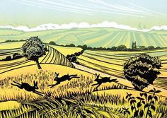 Field Chasers - Rob Barnes Greeting Card £2.35