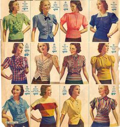 Montgomery Ward blouses, 1939
