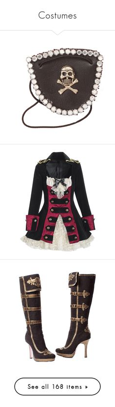 """Costumes"" by anninhasanguinetti-435 ❤ liked on Polyvore featuring accessories, costumes, dresses, pirate, jackets, pirate captain costume, captain halloween costumes, pirate halloween costumes, pirate costume and captain costume"