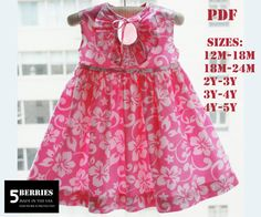Eloise Girls DRESS PATTERN, PDF Sewing Patterns for Children, Baby, Toddler, E Book, 5 Berries. $6.90, via Etsy.