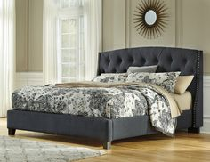 Kasidon King Upholstered Panel Bed with Button Tufting in Dark Gray