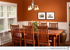 15 Catchy Orange Dining Room Designs - Decoration for House Orange Dining Room, Dining Room Walls, Living Room Paint, Dining Room Design, Dining Room Furniture, Dining Chairs, Murs Oranges, Burnt Orange Living Room, Mission Style Furniture