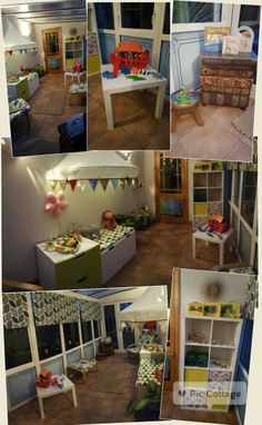 Agnes' play room Old conservatory ikea kallax and stuva with fairy lights and storage including wooden toys and books