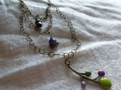 Three Strand Bronze Necklace with a Purple Jade by CurranStudios, $19.00