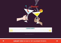 January 2016 Design is Yay Calendar Freebies - Desktop, iPad, iPhone & Planners | DESIGN IS YAY!