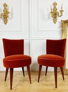 Paire De Chaises Vintage En Velours Des Années 50, A&Deco, Proantic Chaise Vintage, Dining Chairs, Furniture, Design, Home Decor, Chairs, Stools, Velvet, Decoration Home