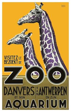 Antique 1935 advertising poster by Anvers Darimont promoting the Antwerp Zoo and Aquarium in both French and Dutch, depicting a pair of colorful giraffes,giraffe,vintage advertising,vintage zoo,belgium,affiche,darimont,antwerp zoo,vintage animal,retro animal,collectible ephemera,poster art,illustration,,zoology,zoological,species,fauna,vintage illustration,lithograph