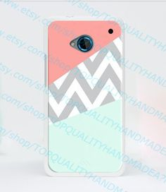Mint & Coral Chevron Block HTC One 4G LTE M7 case- HTC M7 (New One) Hard Plastic Blank Case White cover on Etsy, $8.99