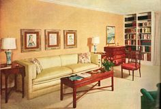 Retro renovate your living room into the mid century modern room of your dreams! Mid Century Modern Living Room, Mid Century Decor, Mid Century House, Modern Room, 1950s Decor, Retro Home Decor, Retro Living Rooms, Living Room Decor, Pantone