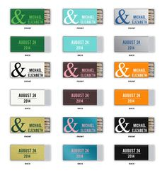 Matchbox Wedding Favor Ampersand Foil Stamped Slim Euro Matchbox Matches Custom Names Date Rehearsal Dinner Bridal