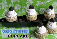 Oreo Stuffed Cupcakes with Oreo Fluffy Frosting