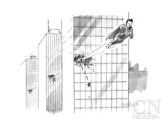 Superman flies through several building, with his attention focused solely... - New Yorker Cartoon Poster Print by Liam Walsh at the Condé Nast Collection