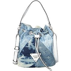 Guess Moondance Drawstring Bucket Bag Handbag Blue Denim