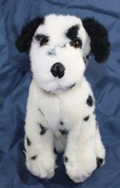 Plush-stuffed-Dalmatian-Puppy-dog-white-black-spotted-10-034-Sitting-Lovey-Toy-B