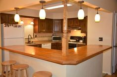 Bi level home remodeling. I would LOVE to do this to my kitchen ...