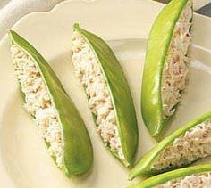 Snow Peas Stuffed with Crab. Great appetizer or snack!