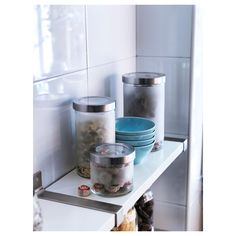 IKEA - DROPPAR Jar with lid frosted glass, stainless steel