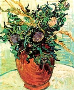 Vincent van Gogh: Still Life: Vase with Thistles. Oil on canvas.  Auvers-sur-Oise: June, 1890.  Private collection.