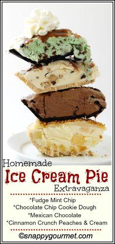 Ice Cream PieExtravaganza, 4 FLAVORS   snappygourmet.com #icecream #pie #recipe