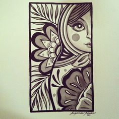 Matryoshka in black ink by Suzanna Fisher.