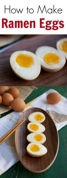 make Ramen Eggs - gooey, soft, almost runny egg yolks, ramen eggs are the best. Learn the secret techniques Ramen Recipes, Egg Recipes, Asian Recipes, Cooking Recipes, Cooking Tips, Japanese Ramen Egg Recipe, Japanese Dishes, Japanese Food, Gastronomia